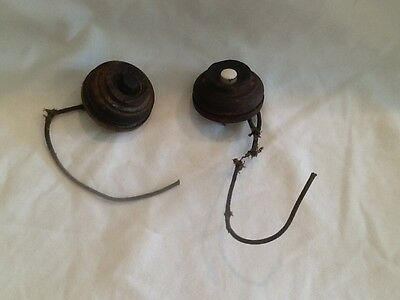 Antique Wooden Elevator Push Button round, porcelain, lot of two vintage RARE