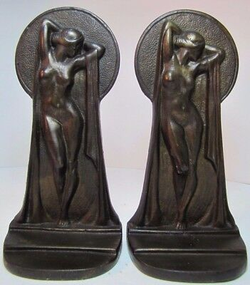 Antique Art Deco Nude Bookends cast iron figural beautiful woman pair book ends