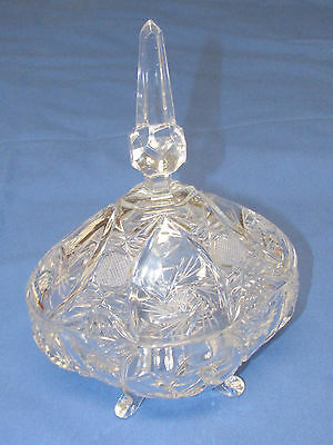 VINTAGE Footed PRESSED Cut CRYSTAL COVERED CANDY DISH BOWL Super Sparkle & Tall