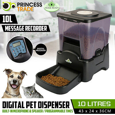 10L Dog Auto Feeder Automatic Program Digital Pet Cat Food Bowl Dispenser LCD