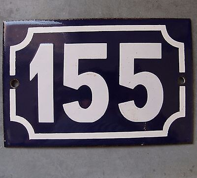 Antique French Enamel Porcelain Steel Door House Street Gate Number Sign 155