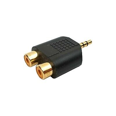 Audio Adapter Klinke Cinch Klinkenstecker 3,5mm auf 2x Cinch Buchse vergoldet