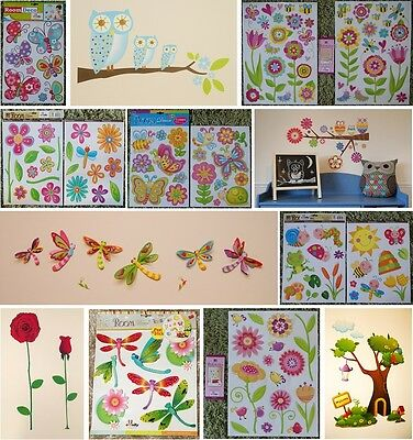 Baby Butterfly Butterflies Flowers Tree Owl Bird Kids Girls Wall Stickers Decals