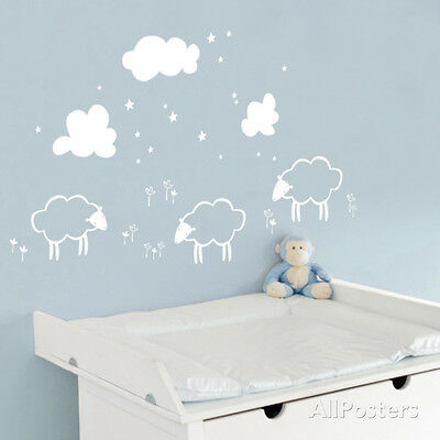 Little Sheeps - White Wall Decal Sticker - 42x25