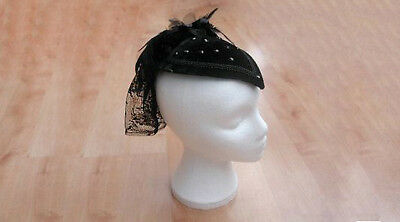Ladies Victorian Black Burlesque Velvet Riding Gothic Fascinator Hat NEW