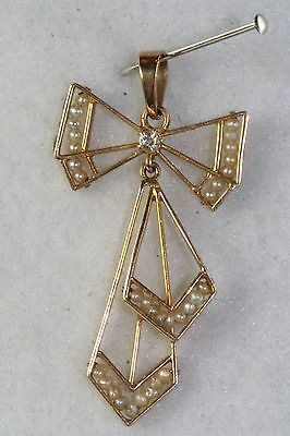 Victorian Edwardian 10K Gold Diamond Pearl Bow Lavaliere Pendant For A Necklace