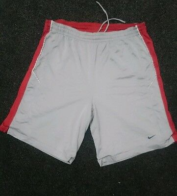 Genuine Nike Dri-Fit Mens Large Reversable Basketball Shorts Red Silver