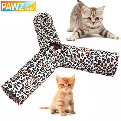 New Cat Tunnel 3 Way Design Kitten Play Fun Toy Kitty Leopard Folding With Ball