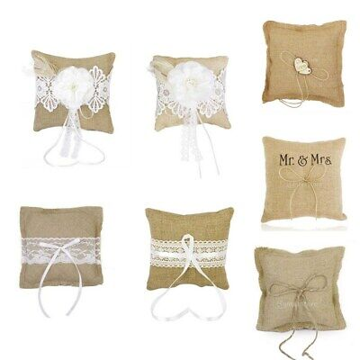 1x Burlap Hessian Ring Pillow Cushion for Vintage Rustic Wedding Ceremony Party