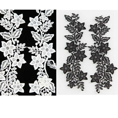 1Pair Flower Lace Trim Embroidered Applique Fabric Embellishment Black/Off white