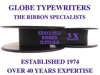 3 x 'SILVER REED SEVENTY' *PURPLE* TOP QUALITY *10M* TYPEWRITER RIBBONS+EYELETS