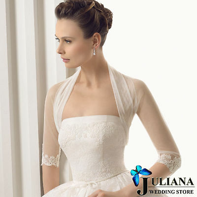 2015 new white and ivory 3/4 Sleeve lace jacket wedding bridal bolero wrap shawl