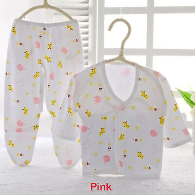 Newborn Baby Sweet Cotton Animal Print Belted Shirt and Pants Set 2 Colors