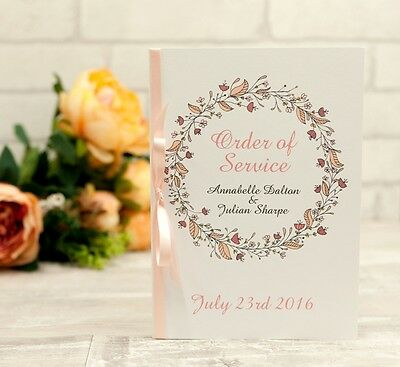 Floral Wreath PEACH Wedding Order Of Service Booklets - (Set of 50)