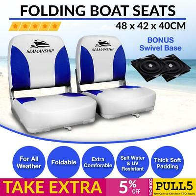 2 x Folding Marine Boat Seat Swivel Grade Vinyl White Blue Extra Large