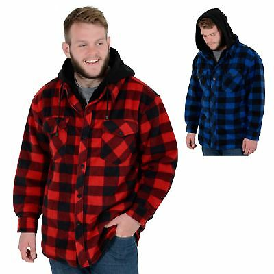 Mens Alaska Check Fleece Lumberjack Winter Gents Casual Work Shirt Jacket Coat