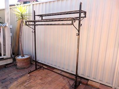 Strong Quality Iron Clothing Rack Two Shelves Rails Stand Home Shop DRS018-BRS