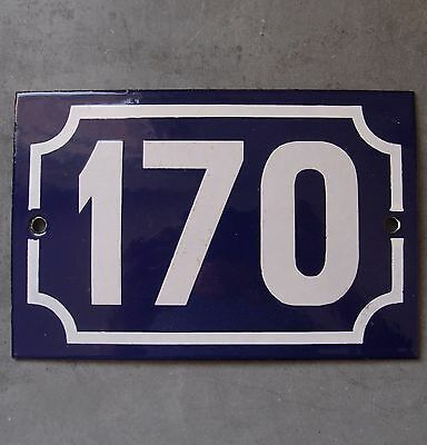 Antique French Enamel Steel Door House Street Gate Number Sign Plaque 170