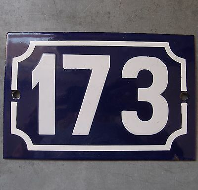 Antique French Enamel Steel Door House Street Gate Number Sign Plaque 173