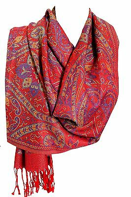 Bright Red Soft Luxury Paisley Print Pashmina Feel Wrap Shawl Scarf Stole Hijab