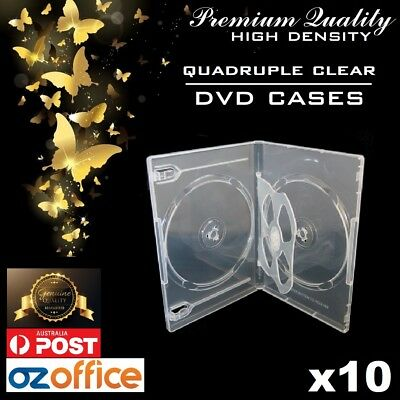 PREMIUM QUALITY 10 x Quad Super Clear CD DVD Case DVD Cover - Holds 4 Discs