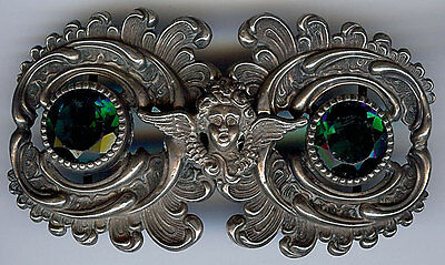 *antique Art Nouveau Green Faceted Glass & Sterling Silver Angel Belt Buckle*