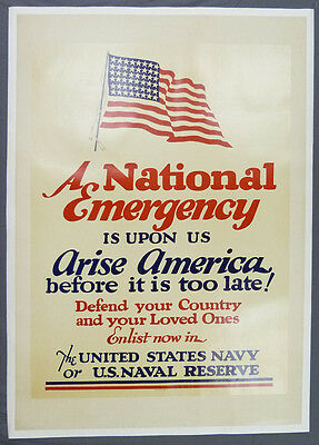 "WWII Era US Naval Service Recruitment Poster ""A National Emergency"" Navy USN"