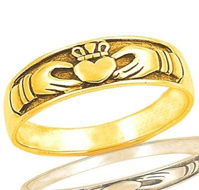 14k Yellow Gold Irish Celtic Claddagh Heart Love Genuine Sterling Silver Ring
