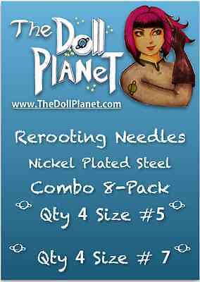 Combo 8-Pack #5 and #7 Steel Cut Needles for Rooting Doll & Pony Barbie MH EAH