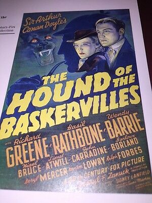 The Hounds Of The Baskerrvilles Basil Rathbone Mini Poster Bookplate Great Art