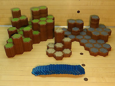 Heroscape Terrain Lot - 359 Hexes - Grass Rock Sand SPARKLY Water - Battlefield
