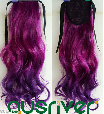 Fashion 14Colours 55CM Long Wavy Heat Resistant Women Lady Hair Wig Ponytail
