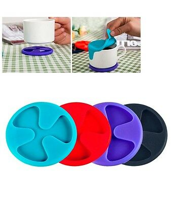Silicone Wine Coasters Non Spill Lid Mug Cup Drink Mat PACK OF 1  -Random Colour