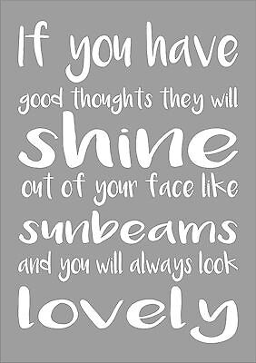 Roald Dahl - If You Have Good Thoughts Word Nursery Words Inspiring Quote Art