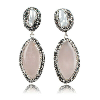 1Pair Marquise Natural Rose Quartz & Real Pearl Paved CZ Edge Earrings BJ003-1