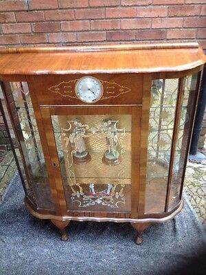 Vintage Art Deco Walnut Display Cabinet With Smiths Clock • £495.00