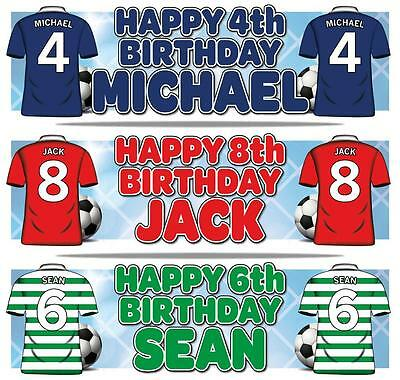 """2 PERSONALISED FOOTBALL BIRTHDAY BANNER 36 """"x 11""""  ANY AGE, ANY NAME, ANY COLOUR"""