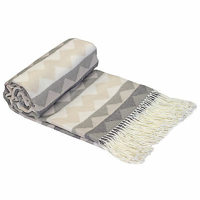 Aztec Taupe Beige Throw Cover Blanket - 140x200cm - Suitable for Chair Sofa Bed