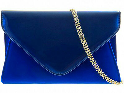 New Royal Blue Faux Patent Leather & Suede Evening Day Clutch Bag Wedding Prom