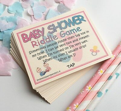 Baby Shower Games Unisex Riddle Cards Funny Adult Humour