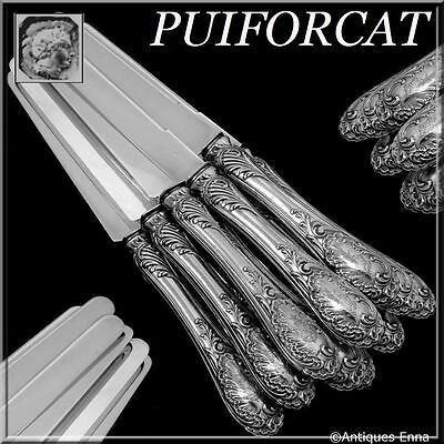 Puiforcat Rare French All Sterling Silver Dessert Knife Set 12 pc Rococo