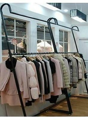 Iron Clothing Rack Double Rail Display Free Standing Home Fashion Shop DRS019BRS