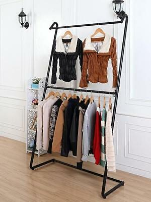 Iron Clothing Rack Double Rail Display Free Standing Home Fashion Shop DRS019BLK