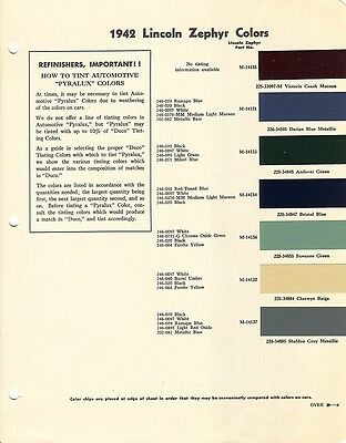 1942 LINCOLN ZEPHYR AUTO LINE PAINT CHIPS (DuPont)