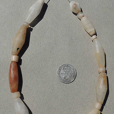 10 ancient biconical agate quartz stone beads mali #3635