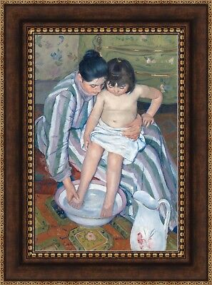 Mother washing the tired child by Mary Cassatt Giclee Reproduction on Canvas