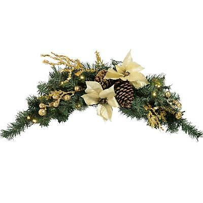 3ft Pre-Lit Arch Garland Swag Christmas Decoration White LED Lights Cream Gold