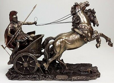 ACHILLES in ROMAN GLADIATOR CHARIOT Sculpture Statue Bronze Finish