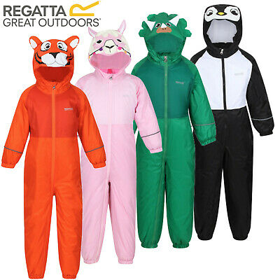 Regatta Mudplay Waterproof Snow Suit Padded Fleece Lined All In One Kids Rain