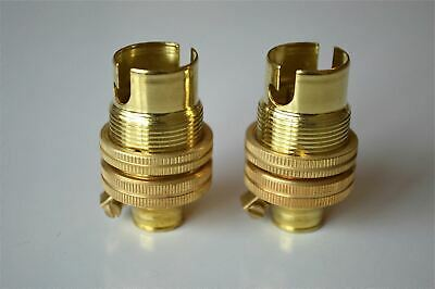 Pair Of Brass Small Bayonet B15 Fitting Bulb Holder Lamp C/W Shade Ring 10Mm L5